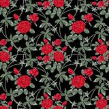 Modelo retro floral inconsútil Rosas rojas en un fondo negro stock de ilustración