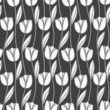 Modelo retro inconsútil abstracto con las siluetas de tulipanes Fondo del diseño floral?, contexto, diseño de la ilustración Foto de archivo