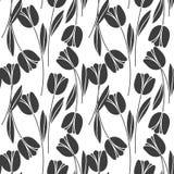 Modelo retro inconsútil abstracto con las siluetas de tulipanes Fondo del diseño floral?, contexto, diseño de la ilustración Imagen de archivo libre de regalías