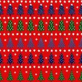 Modelo retro inconsútil de la Navidad - árboles variados, estrellas y copos de nieve de Navidad Foto de archivo libre de regalías