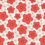 Modelo rojo inconsútil de Sakura del vector Fotografía de archivo libre de regalías