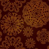 Modelo rojo oscuro abstracto inconsútil con los copos de nieve del cordón Imagen de archivo