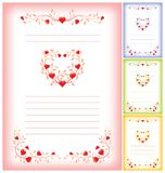 Modelo romántico de la carta con los corazones Imagen de archivo libre de regalías