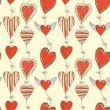 Modelo romántico de la historieta inconsútil con los corazones Imagen de archivo libre de regalías