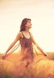 Modelo romântico no vestido de Sun no campo dourado no por do sol Imagens de Stock Royalty Free