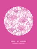 Modelo rosado de la decoración del círculo del lineart de los lillies Imagen de archivo libre de regalías