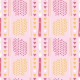 Modelo rosado femenino del vector de Memphis Style Geometric Abstract Seamless stock de ilustración