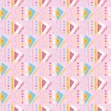 Modelo rosado femenino del vector de Memphis Style Geometric Abstract Seamless de los triángulos ilustración del vector