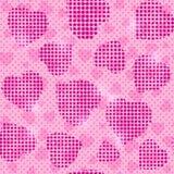 Modelo rosado inconsútil con las siluetas de semitono del corazón Fotos de archivo