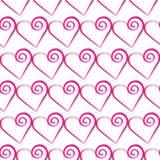 Modelo rosado romántico del corazón Ejemplo del vector para el diseño del día de fiesta Muchos corazones del vuelo en el fondo bl Fotografía de archivo