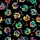 Modelo 80s del vector Fondo abstracto inconsútil geométrico Años 80 retros de Memphis Style Fotos de archivo