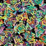 Modelo 80s del vector Fondo abstracto inconsútil geométrico Años 80 retros de Memphis Style Imagen de archivo