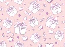 modelo silenciado festivo del color con la caja de regalo blanca, estrella, él stock de ilustración