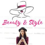 Modelo Silhouette Text Concept da menina do estilo da beleza fotos de stock royalty free