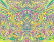 Modelo simétrico colorido psicodélico del arco iris Textura decorativa del extracto de la fantasía con el laberinto del garabato  ilustración del vector