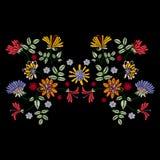 Modelo simétrico del bordado con las flores étnicas para la tela stock de ilustración