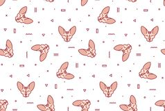 Modelo simple con los gatos rosados y las formas geométricas stock de ilustración