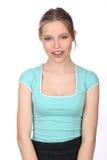 Modelo sonriente con la presentación del maquillaje Cierre para arriba Fondo blanco Fotos de archivo libres de regalías