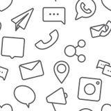 Modelo sosial inconsútil de los iconos de la vida en el fondo blanco libre illustration