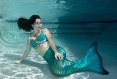 Modelo subaquático em uma associação que veste uma cauda das sereias Foto de Stock Royalty Free