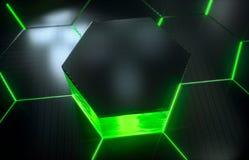 Modelo superficial futurista abstracto del hexágono con los rayos ligeros Imagenes de archivo