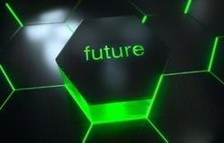 Modelo superficial futurista abstracto del hexágono con los rayos ligeros Fotos de archivo