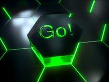 Modelo superficial futurista abstracto del hexágono con los rayos ligeros Fotografía de archivo libre de regalías