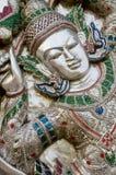 Modelo tailandés antiguo en la pared del templo de Buda Imágenes de archivo libres de regalías