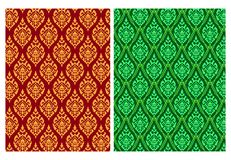 Modelo tailandés inconsútil del batik en arte del vector del pixel Imágenes de archivo libres de regalías