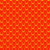 Modelo tejado de cuadrados rojos y de triángulos amarillos rayados ilustración del vector