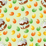 Modelo, tortas de pascua Pascua y huevos inconsútiles Fotos de archivo libres de regalías