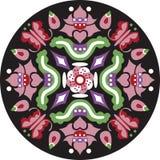 Modelo tradicional chino oriental del círculo de la mariposa de la flor de loto ilustración del vector