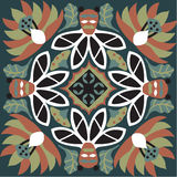 Modelo tradicional chino oriental del cuadrado del pez de colores de la flor de loto stock de ilustración