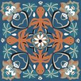 Modelo tradicional chino oriental del cuadrado del pez de colores de la flor de loto libre illustration