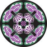 Modelo tradicional oriental del círculo de la hoja de la flor de loto libre illustration
