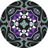 Modelo tradicional oriental del círculo del pez de colores de la flor de loto libre illustration