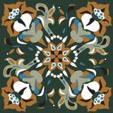 Modelo tradicional oriental del cuadrado de la flor de loto ilustración del vector