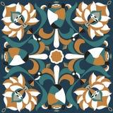 Modelo tradicional oriental del cuadrado del pez de colores de la flor de loto stock de ilustración