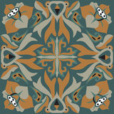 Modelo tradicional oriental del cuadrado del pez de colores de la flor de loto libre illustration