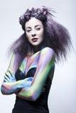 Modelo triguenho no estúdio com pintura de corpo Imagem de Stock Royalty Free