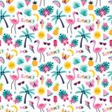 Modelo tropical colorido con las palmeras de la pi?a del flamenco libre illustration