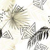 Modelo tropical colorido inconsútil Hojas de una palma, monstera en un fondo blanco stock de ilustración