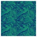 Modelo tropical hawaiano del verano inconsútil con, hojas de palma y flores ilustración del vector