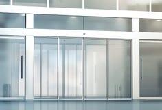 Modelo vazio da entrada das portas de vidro de deslizamento imagem de stock
