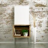 Modelo vazio da lona no armário da tabela Imagens de Stock Royalty Free
