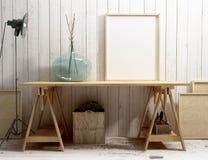 Modelo vazio do quadro na mesa Imagens de Stock Royalty Free