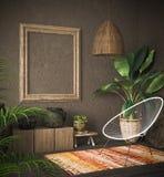 Modelo velho do quadro de madeira no interior étnico fotografia de stock royalty free