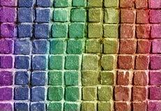 Modelo verde azul del piso de la teja de la pared de piedra del fondo de la textura de la pared de la pizarra del arco iris del r fotografía de archivo