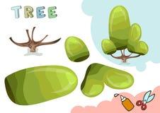 Modelo verde del papel del árbol Pequeño proyecto casero del arte, juego de papel de DIY Cortado y pegamento Recortes para los ni Imagenes de archivo