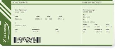 Modelo verde del vector de un boleto del documento de embarque foto de archivo